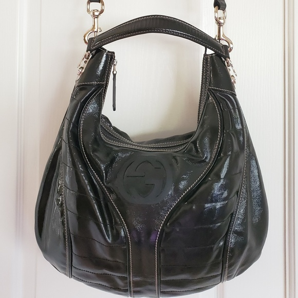 Gucci Handbags - Gucci Snow Glam Black Patent Leather Medium Hobo